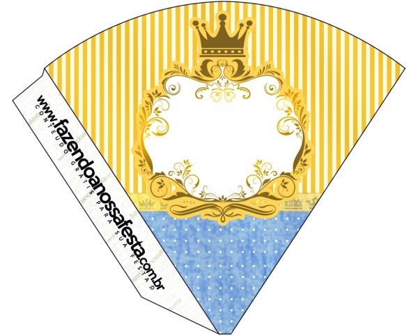 Cone Guloseimas Fundo Príncipe Azul e Dourado