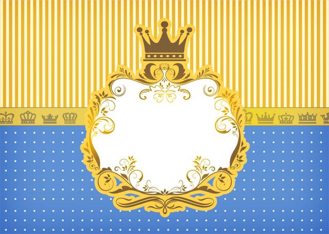 Convite 2 Fundo Príncipe Azul e Dourado