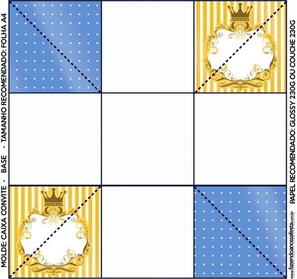 Convite Caixa Fundo Fundo Príncipe Azul e DouradoConvite Caixa Fundo Fundo Príncipe Azul e Dourado