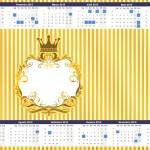 Convite Calendário 2015 Fundo Príncipe Azul e Dourado