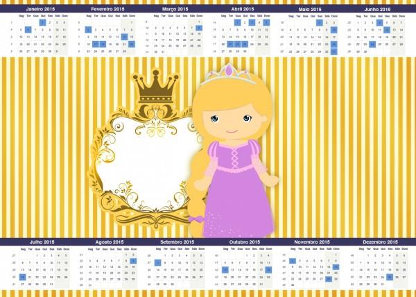 Convite Calendário 2015 Princesa Loira