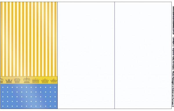 Convite, Cardápio ou Cronograma em Z Fundo Príncipe Azul e Dourado
