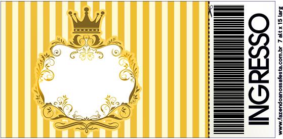 Convite Ingresso Fundo Príncipe Azul e Dourado