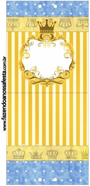 Convite Pirulito Fundo Príncipe Azul e Dourado