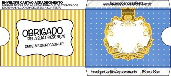 Envelope Cartão Agradecimento Fundo Príncipe Azul e Dourado