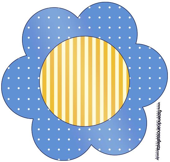 Flor Fundo Príncipe Azul e Dourado