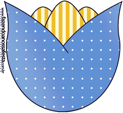 Flor Tulipa Fundo Príncipe Azul e Dourado