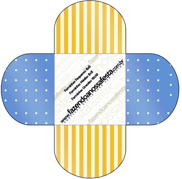 Forminhas Docinhos Redodna Fundo Príncipe Azul e Dourado