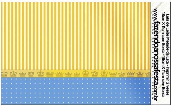 Lata de Leite Fundo Príncipe Azul e DouradoLata de Leite Fundo Príncipe Azul e Dourado