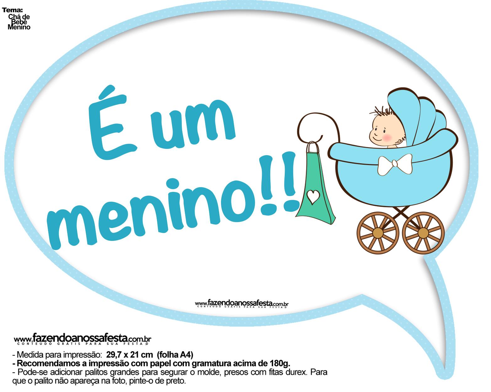 Preferência Plaquinhas Divertidas Chá de Bebê Menino 12 - Fazendo a Nossa Festa DM51