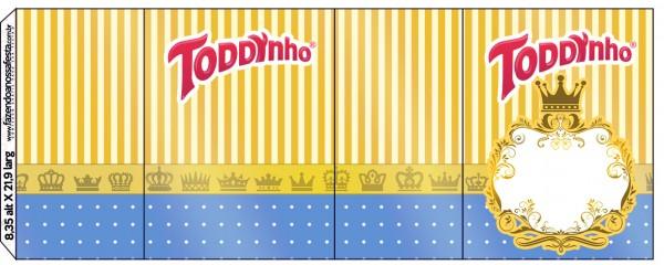 Rótulo Toddynho Fundo Príncipe Azul e Dourado