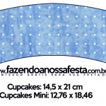Saias Wrappers para Cupcakes Fundo Príncipe Azul e Dourado