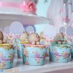 Saias Wrappers para Cupcakes Festa Floral Vintage Azul e Rosa da Alice Marina