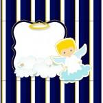 Bala Personalizada Batizado Azul Marinho Anjinho Loiro
