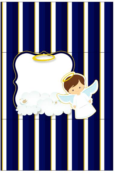 Bala Personalizada Batizado Menino Azul Marinho e Branco
