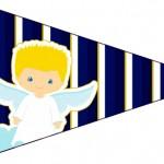 Bandeirinha Sanducihe 4 Batizado Azul Marinho Anjinho Loiro