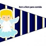 Bandeirinha Sanduiche 2 Batizado Azul Marinho Anjinho Loiro