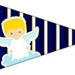Bandeirinha Sanduiche 3 Batizado Azul Marinho Anjinho Loiro