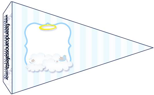 Bandeirinha Sanduiche 4 Batizado Azul Claro