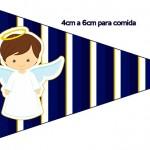 Bandeirinha Sanduiche 4 Batizado Menino Azul Marinho e Branco