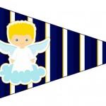 Bandeirinha Sanduiche 5 Batizado Azul Marinho Anjinho Loiro