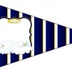 Bandeirinha Sanduiche 6 Batizado Azul Marinho Anjinho Loiro