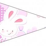 Bandeirinha Sanduiche 6 Páscoa Coelhinho Cute Rosa