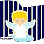 Bandeirinha Sanduiche Batizado Azul Marinho Anjinho Loiro