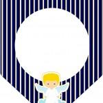 Bandeirinha Varalzinho Batizado Azul Marinho Anjinho Loiro