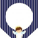Bandeirinha Varalzinho Batizado Menino Azul Marinho e Branco