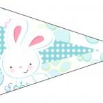 Bandeirinha Sanduiche 4 Páscoa Coelhinho Cute Azul
