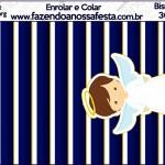 Bisnaga 30gr Batizado Menino Azul Marinho e Branco