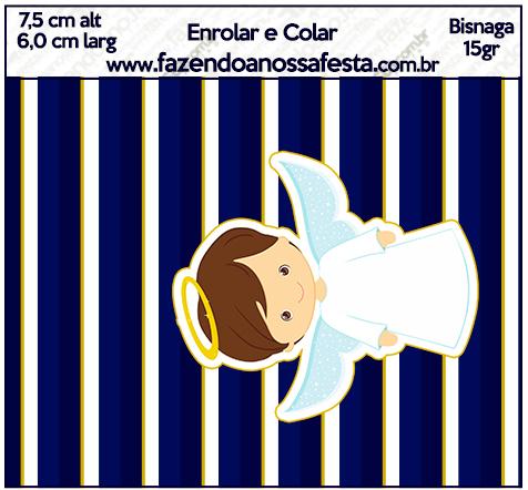 Bisnaga Brigadeiro 15gr Batizado Menino Azul Marinho e Branco