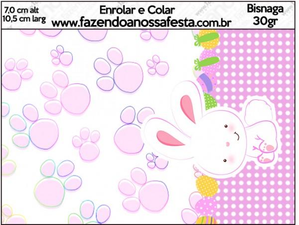 Bisnaga Brigadeiro Páscoa Coelhinho Cute Rosa