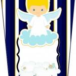 Bisnaga Flip Top Batizado Azul Marinho Anjinho Loiro