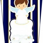 Bisnaga Flip Top Batizado Menino Azul Marinho e Branco