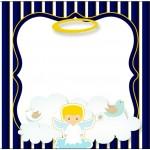 Bolinha de Sabão Batizado Azul Marinho Anjinho Loiro