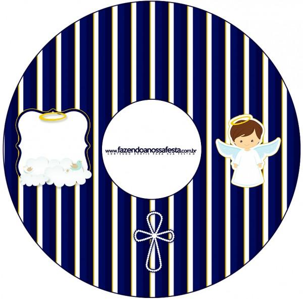 CD DVD Batizado Menino Azul Marinho e Branco
