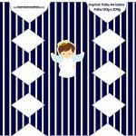 Caixa Bala Batizado Menino Azul Marinho e Branco