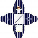 Caixa Batizado Menino Azul Marinho e Branco