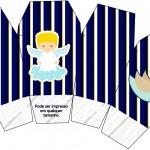 Caixa China in Box Batizado Azul Marinho Anjinho Loiro