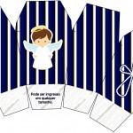 Caixa China in Box Batizado Menino Azul Marinho e Branco
