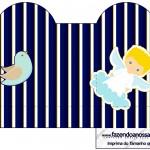 Caixa Coração Batizado Azul Marinho Anjinho Loiro
