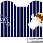 Caixa Coração Batizado Menino Azul Marinho e Branco