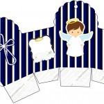 Caixa Cupcake Batizado Menino Azul Marinho e Branco