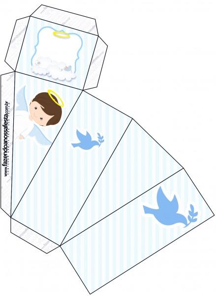 Caixa Fatia Batizado Azul Claro