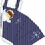 Caixa Fatia Batizado Menino Azul Marinho e Branco