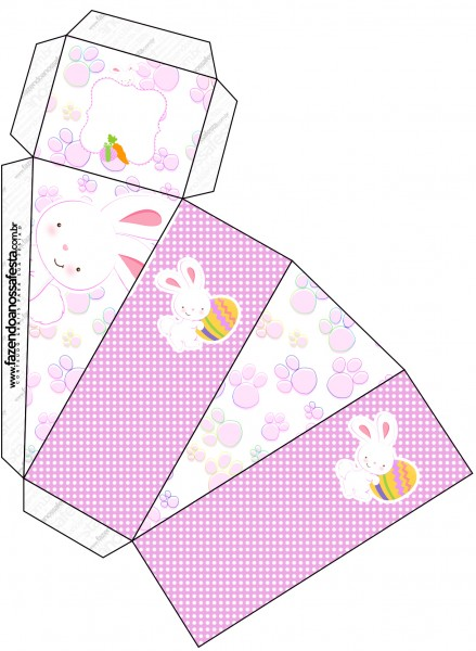 Caixa Fatia Páscoa Coelhinho Cute Rosa