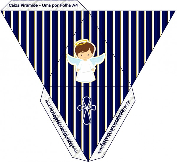 Caixa Pirâmide Batizado Menino Azul Marinho e Branco