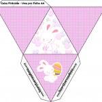 Caixa Pirâmide Páscoa Coelhinho Cute Rosa